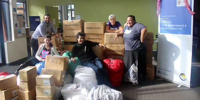 PIRSSU staff with medical and hospital supplies for Samoa