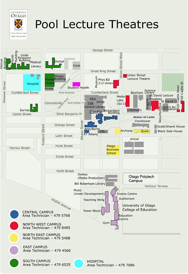Map of Pool Lecture Theatres