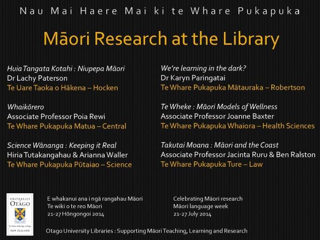Te Wiki o Te Reo Māori 2014, Hocken Collections, University