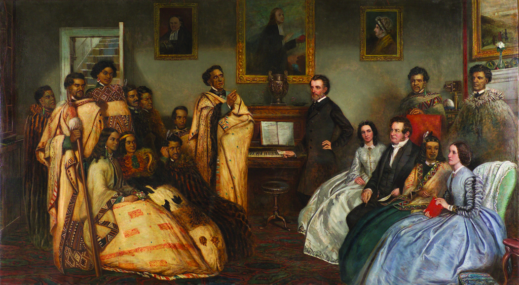 James Smetham, 1821-1889, The New Zealand chiefs in Wesley's House, 1863, oil on canvas,  13,395, Hocken Collections, Uare Taoka o Hakena, University of Otago, Dunedin.