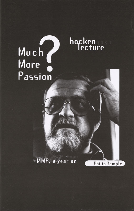 Hocken Lecture 1997 - Much More Passion small