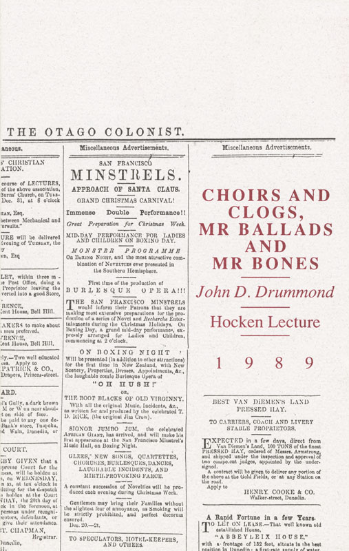 Hocken Lecture 1989 - Choirs and Clogs Mr Ballads and Mr Bones small