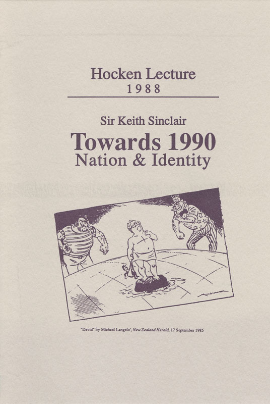 Hocken Lecture 1988 - Towards 1990 small