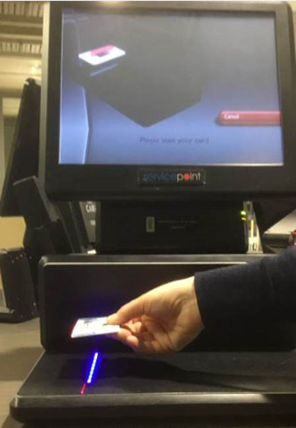 Scan your card on the self-check image