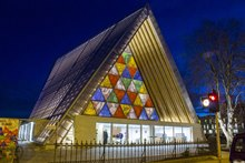Christchurch's Cardboard Cathedral at night