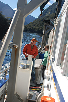 University of Otago Marine Science Staff on a boat in Fiordland 1x image