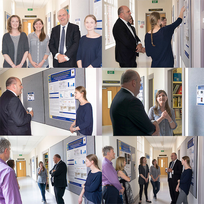 Severl images of Minister Steven Joyce meeting CNE studenst and researchers  at the Centre for neuroendocrinology