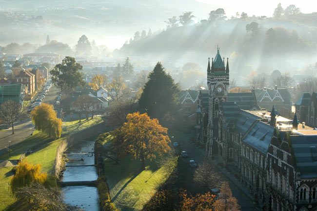 Winning photograph of Otago campus in mist by Michael Robertson