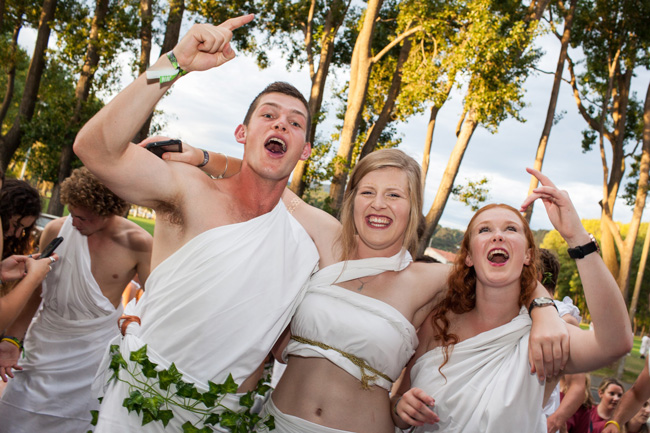Students attending the toga party