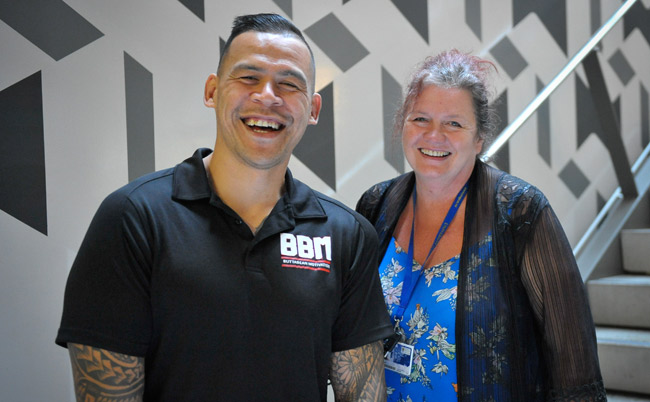 Dave-Letele-with-convenor-Lesley-Gray-image