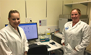 Dr Kathryn Hally and Dr Kirsty Danielson with the cytometer thumb