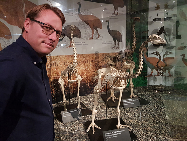 Paul Gardener and Moa skeletons at Otago Museum