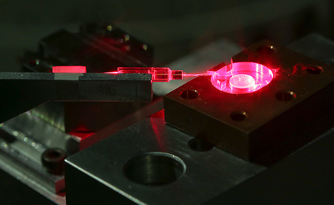 Laser through crystal image
