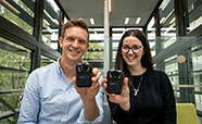 Bedtime Electronic Devices (BED) study co-leaders Brad Brosnan and Shay Ruby-Wickham with infrared cameras thumbnail