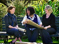 Rawinia Puna, of Puna Flax Papers (pictured, centre, with Drs Sara Walton, left, and Jodyanne Kirkwood)