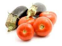 Tomatoes and an aubergine