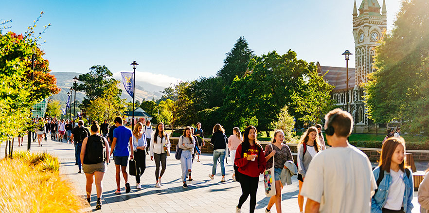 Students walking between classes on the Dunedin campus