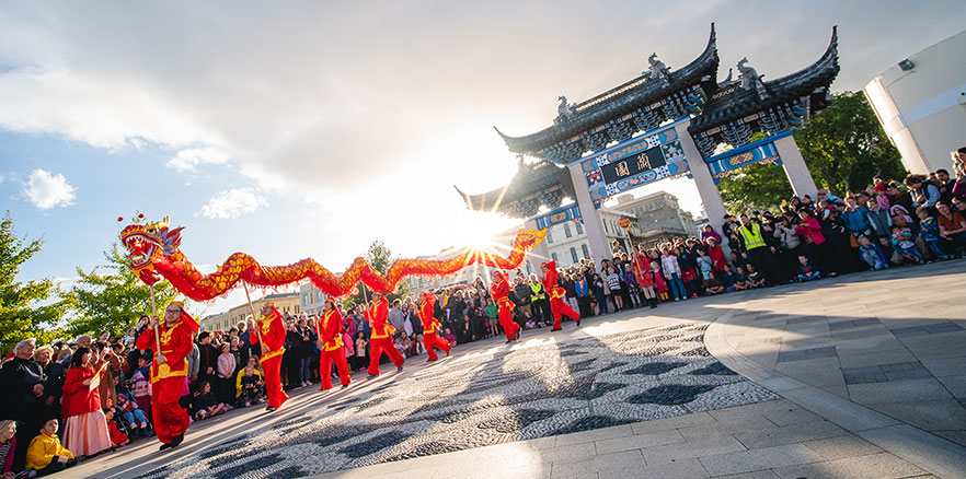 Dragon dancers during Chinese New Year celebrations at the Dunedin Chinese Garden. Photo credit: Dunedin NZ.