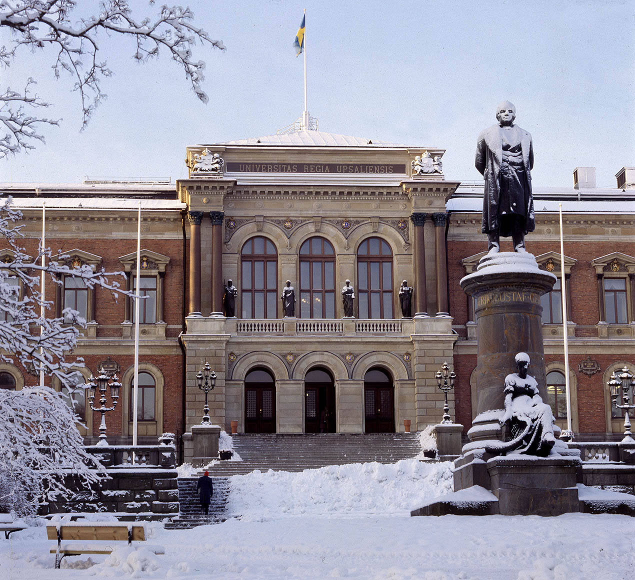Uppsala University building covered in snow