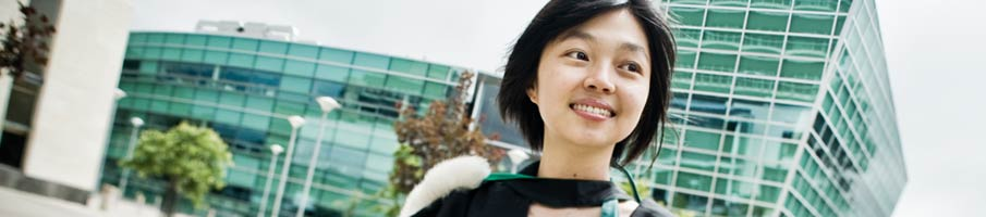 International student outside Centre for Innovation