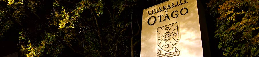 Main entrance to the University at night