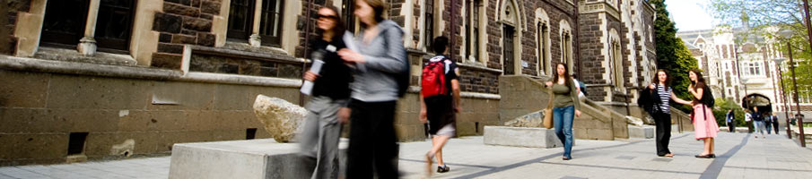 Students walking through the Quadrangle