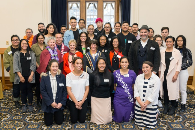 Staff and Students at Pacific Scholarships Event