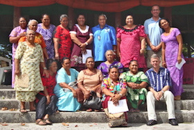 Philip Hill and researchers in Samoa image