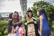 Oacific Islands graduates with family