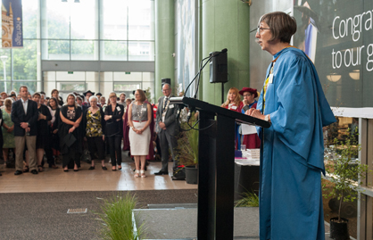 Guest speaker Ruth Ferguson address the students at graduation ceremony