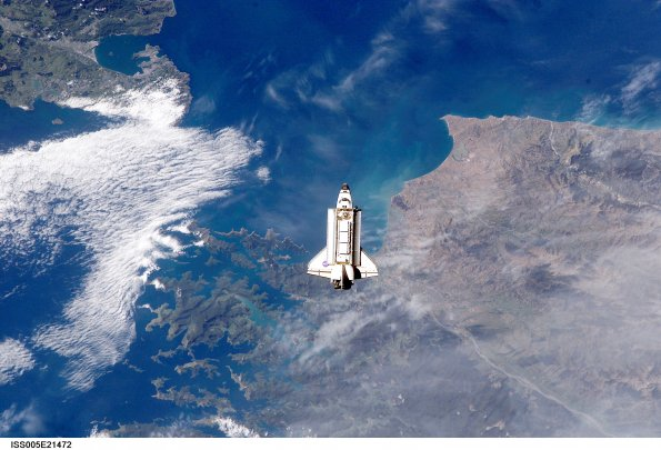 Image of Space Shuttle over Cook Straight