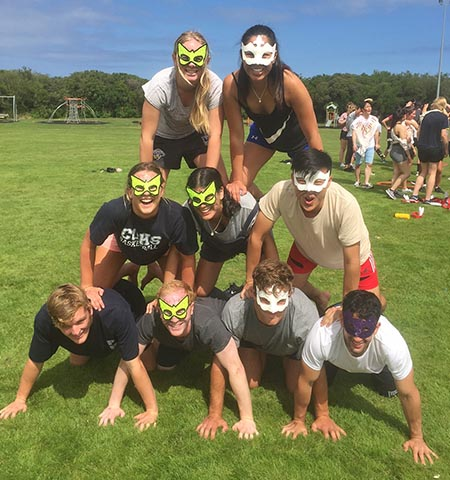 physio student camp 2017 human pyramid