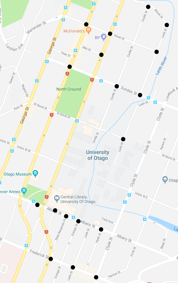 map of CCTV locations on Dunedin campus