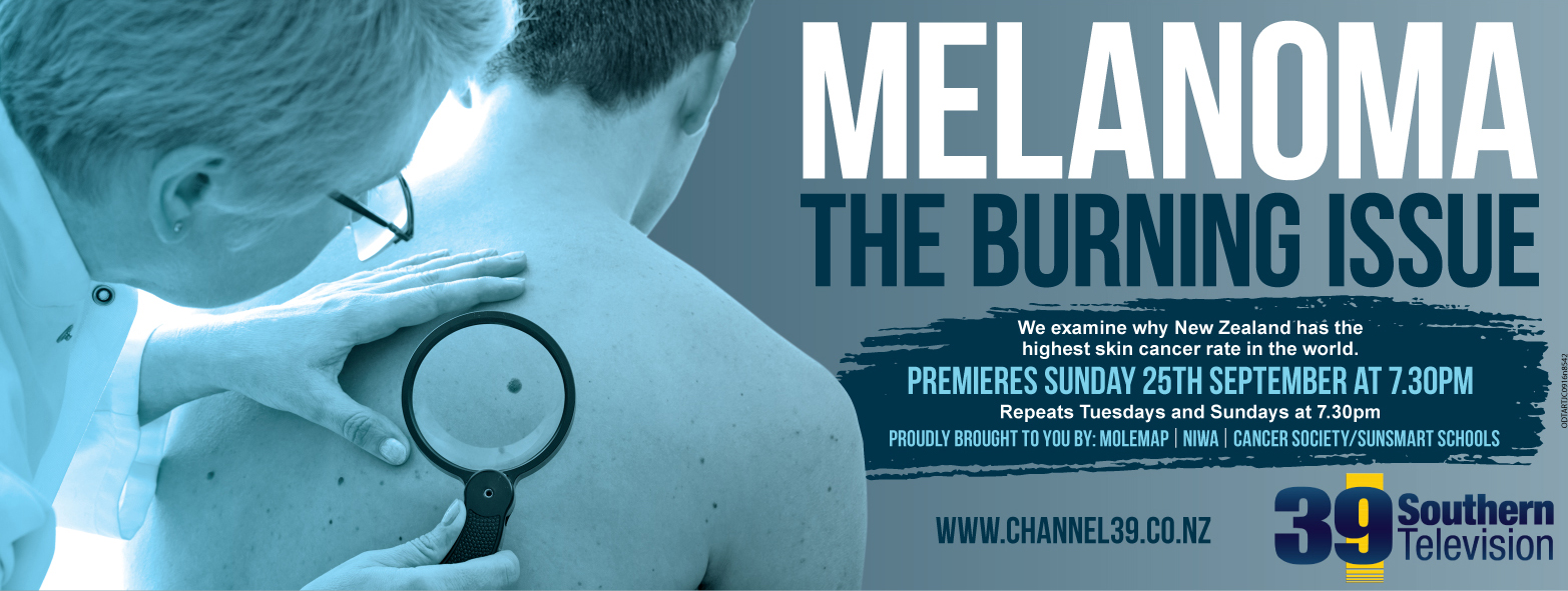 Flyer for the programme called Melanoma The Burning Issue on Channel 39