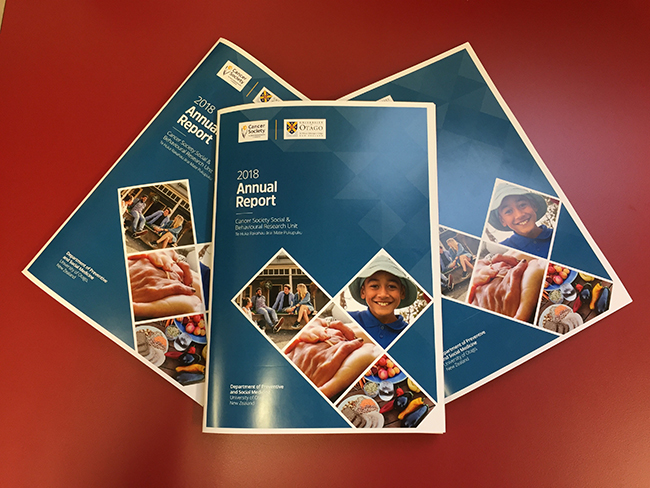 Photo of the annual report for 2018 for the Cancer Society Social and Behavioral Research Unit