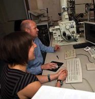 Liz Girvan and Andrew Tawse Smith in the scanning electron microscopy suite