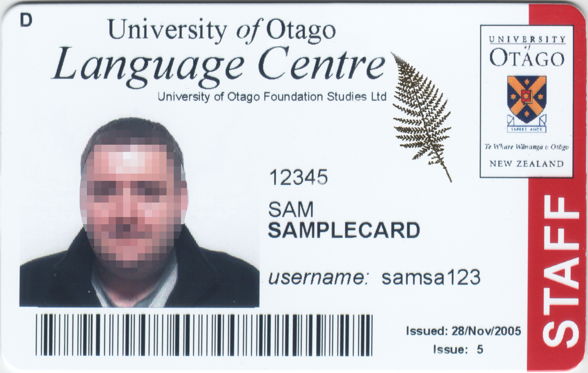 Cards Otago University Card New Zealand Types Student Other Id - Otago Services Of
