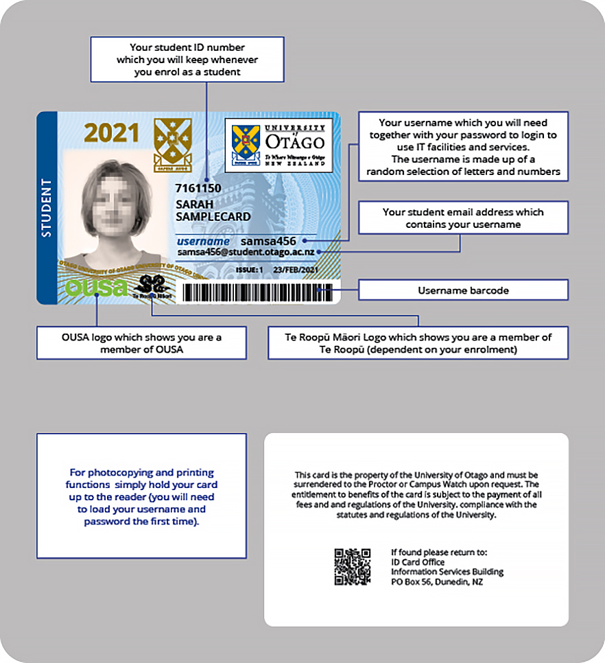 ID Card, Student Services, University of Otago, New Zealand