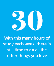 30 - With this many hours of study each week, there is still time to do all the other things you love