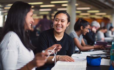 Current students studying in the library.