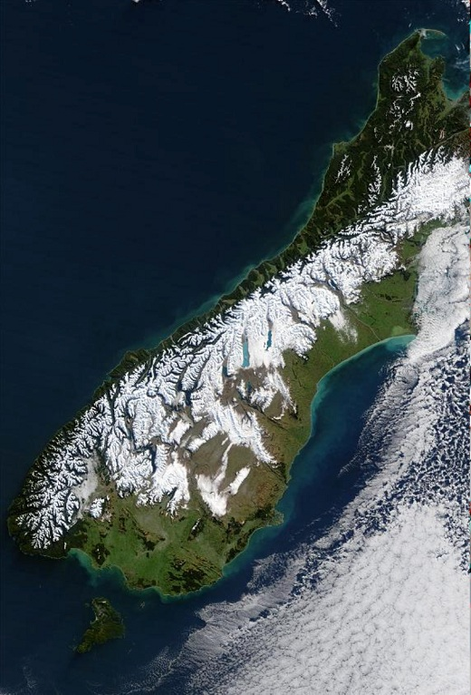 Snowy South Island from MODIS