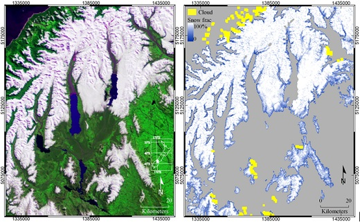 Mapping subpixel snow fraction from MODIS data