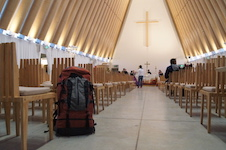 A backpack in the Transitional Cathedral in Christchurch