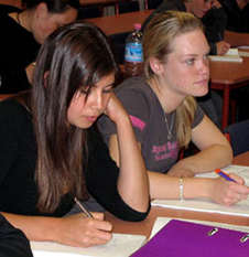 Girls studying
