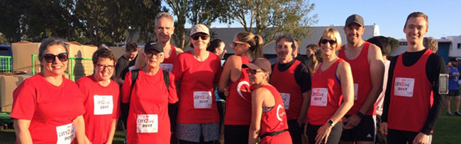 Some of the Christchurch Heart Institute team gathers for the City2Surf 2017
