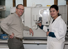 Martin Kennedy and Simone Cree with new and existing DNA sequencers