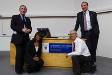 Tony Gallagher, Carla Pugh, Spencer Beasley and Richard Hanney at Medical Simulation Symposium 28 April 2015