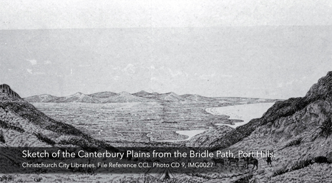 Sketch of the Canterbury Plains from the Bridle Path, Port Hills_large