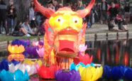 The water dragon lantern attracts a crowd at the Christchurch Lantern Festival (2016)<br />Photo: Anna Young