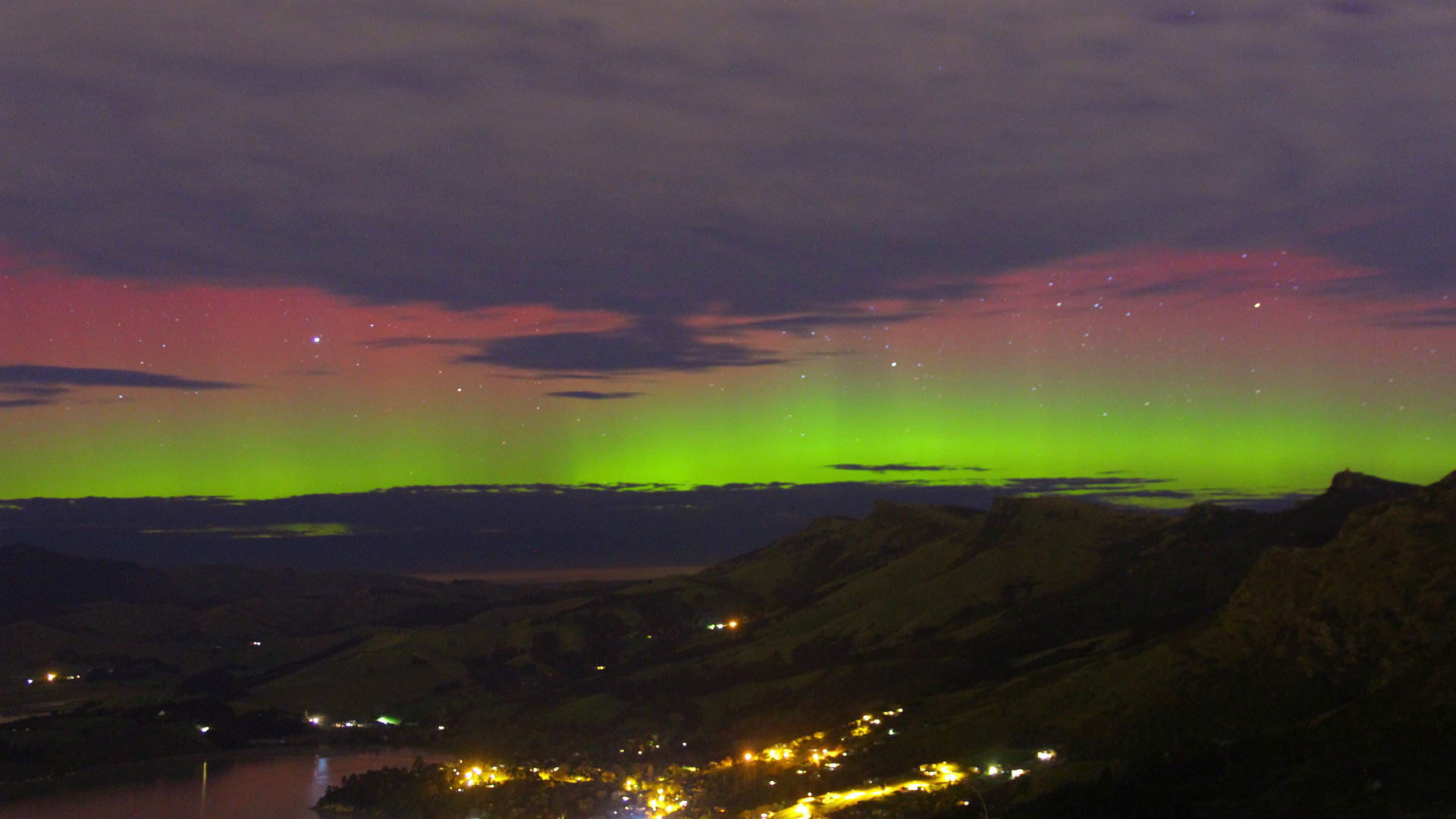 Aurora Australis over the Port Hills (July 2017)